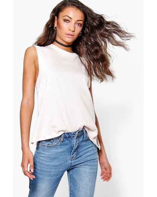 Boohoo tall zayla oversized sleeveless nepp tee in black for Tall sleeveless t shirts