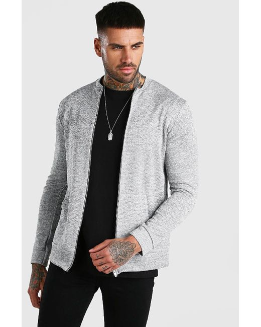 BoohooMAN Gray Zip Through Smart Knitted Bomber for men