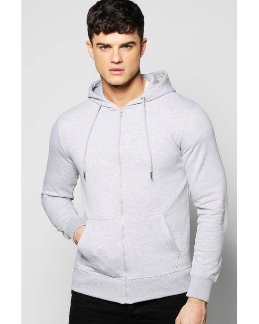 Boohoo - Gray Zip Through Hoodie for Men - Lyst