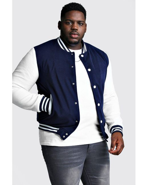 BoohooMAN Blue Big And Tall Varsity Bomber Jacket for men