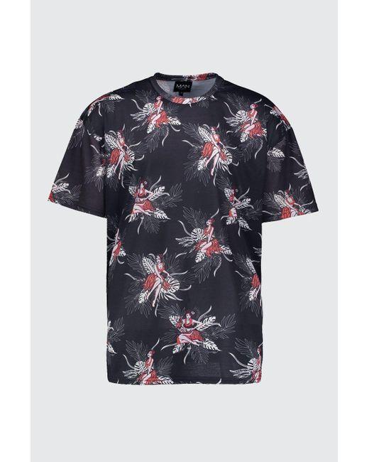 9d26d6ba ... BoohooMAN - Black Oversized Hawaiian Print T-shirt for Men - Lyst ...