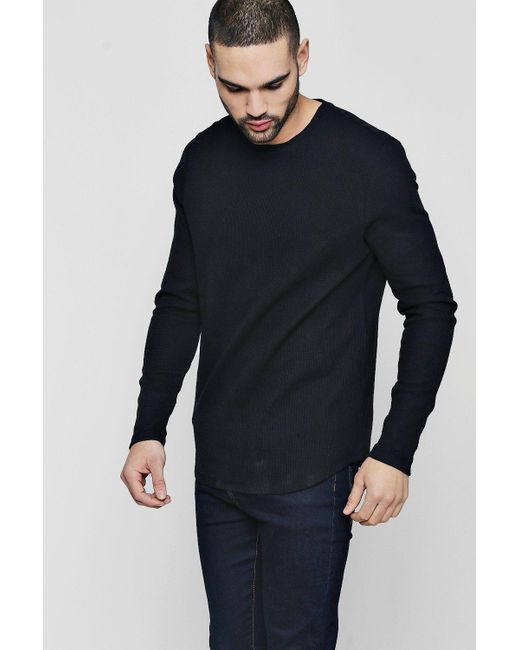 Boohoo - Black Long Sleeve Waffle Knit T-shirt for Men - Lyst