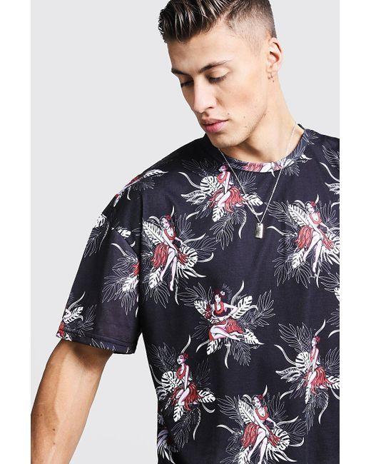 dbdd2bfe ... BoohooMAN - Black Oversized Hawaiian Print T-shirt for Men - Lyst