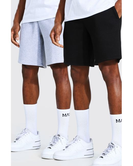 BoohooMAN Multicolor 2 Pack Man Mid Length Slim Jersey Shorts for men