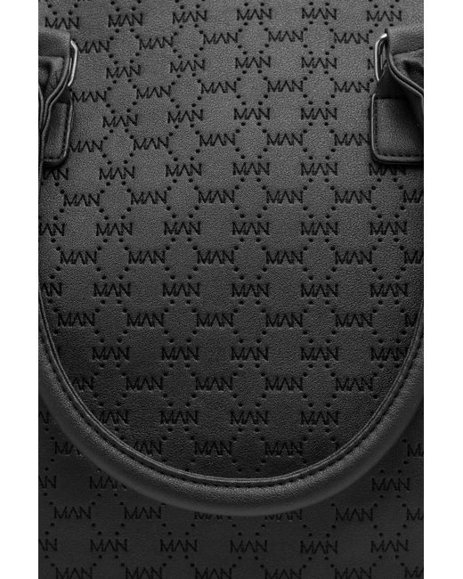 c31ce66eb1fc ... BoohooMAN - Black Man Logo Embossed Pu Holdall for Men - Lyst ...
