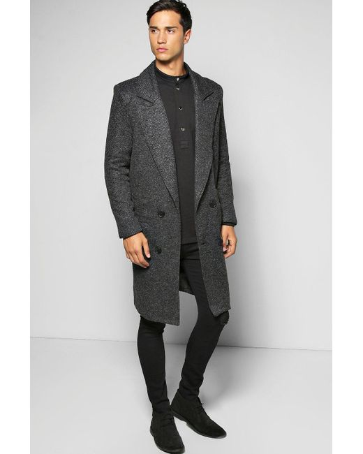 Boohoo - Black Textured 3/4 Smart Lined Tailored Jacket for Men - Lyst
