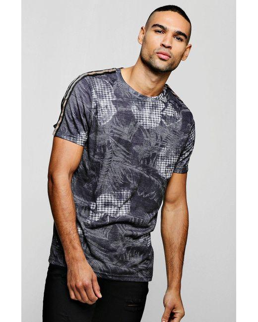 ff06dc0c6d8e0 BoohooMAN - Black Skull Print T-shirt With Shoulder Tape for Men - Lyst ...