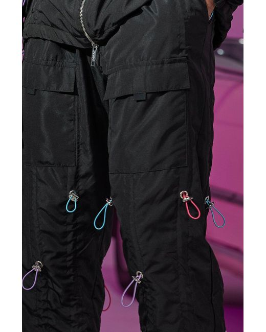 BoohooMAN Black Official All Over Toggle Shell Cargo Trouser for men