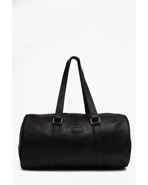 e6c743d21def BoohooMAN - Black Soft Pu Barrel Holdall for Men - Lyst ...