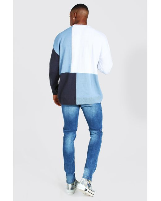 BoohooMAN Blue Colour Block Turtle Neck Knitted Jumper for men