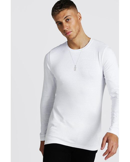 BoohooMAN White Muscle Fit Long Sleeve T-shirt for men