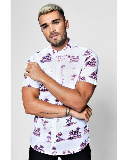 Boohoo - White Palm Tree Print Short Sleeve Shirt for Men - Lyst