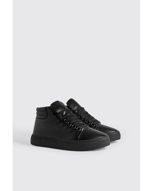 68c85a72fb0c BoohooMAN - Black Eyelet Detail High Top In Faux Leather for Men - Lyst ...