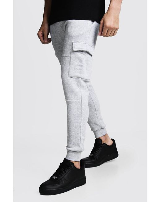 complete in specifications new style get cheap Men's Gray Skinny Fit Panelled Cargo Joggers