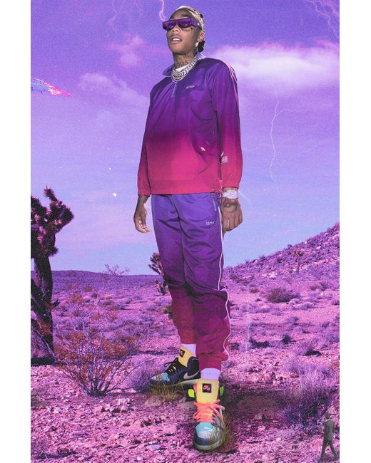 BoohooMAN Purple Man Ombre Funnel Neck Shell Tracksuit for men