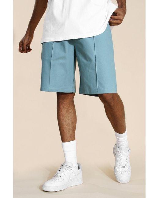 BoohooMAN Blue Skate Chino Shorts for men