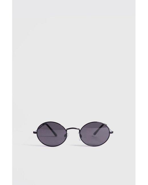 82d06b415a2 BoohooMAN - Black Vintage Look Oval Sunglasses for Men - Lyst ...