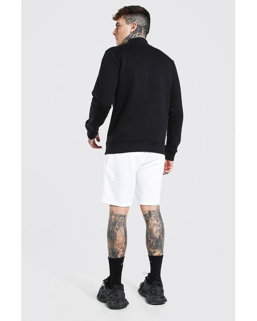 BoohooMAN White Man Signature Embroidered Regular Jersey Shorts for men