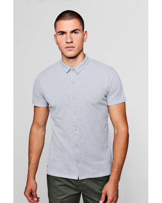 Boohoo - Gray Cotton Pique Button Polo for Men - Lyst
