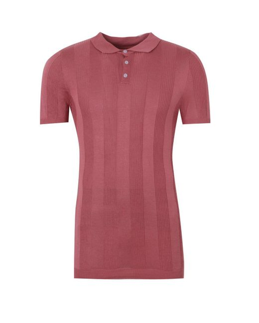 8a585ebcb1dc ... Boohoo - Pink Dele Rib Stripe Knitted Muscle Fit Polo for Men - Lyst
