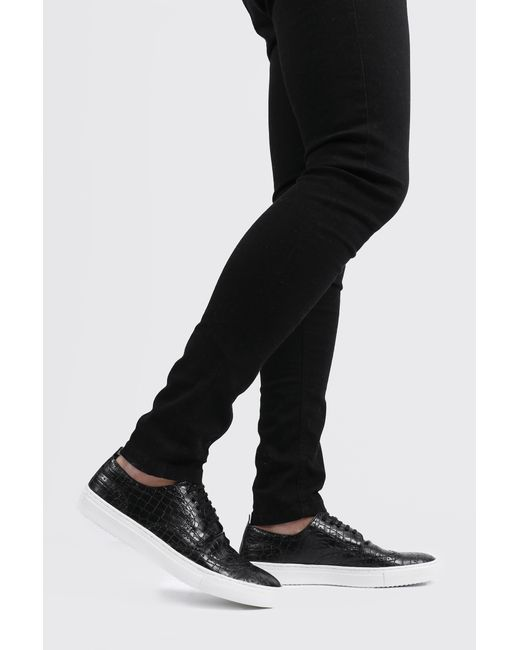 BoohooMAN Black Faux Croc Lace Up Trainer for men