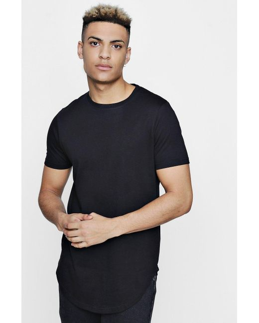 Boohoo - Black Short Sleeve Longline T Shirt With Curve Hem for Men - Lyst