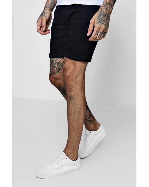 c2357aa837192 BoohooMAN Stretch Skinny Fit Black Denim Shorts in Black for Men - Lyst