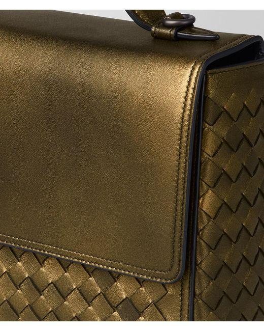 ... Bottega Veneta - Metallic Dark Gold Intrecciato Nappa Alumna Bag - Lyst  ... 1d652a8cb44c8