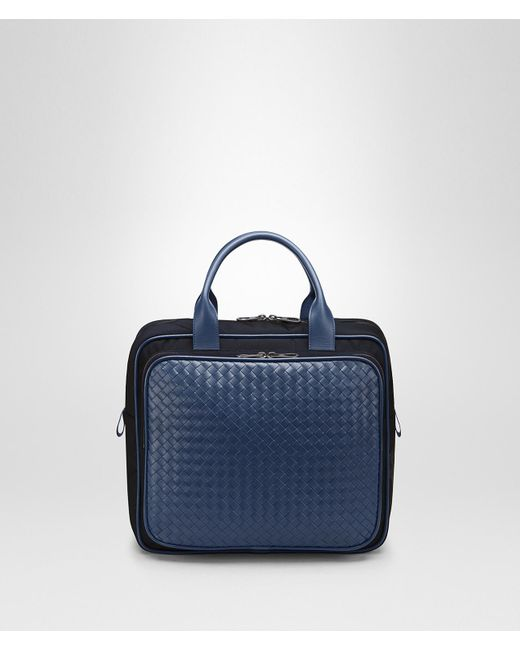 bf7d5b3596e0 Bottega Veneta - Blue Travel Bag In Tourmaline Technical Canvas And Pacific  Intrecciato Calf - Lyst ...