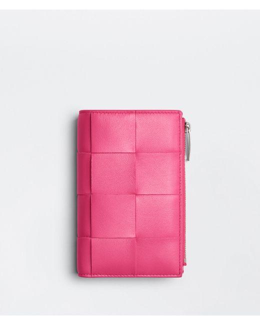 Bottega Veneta Bi-fold Zip Wallet Pink