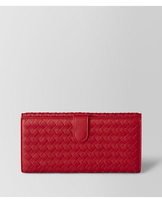 Bottega Veneta - China Red Intrecciato Nappa French Wallet - Lyst