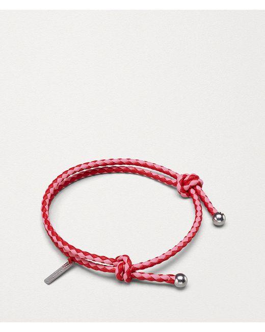 Bottega Veneta Red Bracelet In Intrecciato Nappa Bicolor