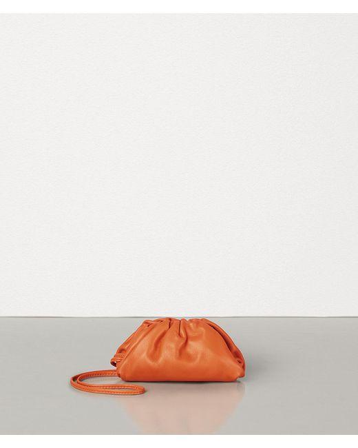 Bottega Veneta Orange The Pouch Mini Leather Clutch