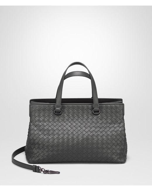 Bottega Veneta Light Gray Intrecciato Na Medium Top Handle Bag Lyst