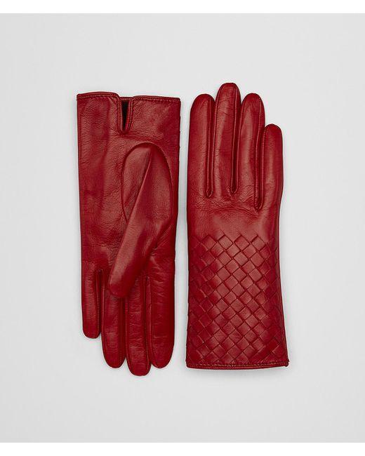 Bottega Veneta - Red Gloves In Nappa - Lyst