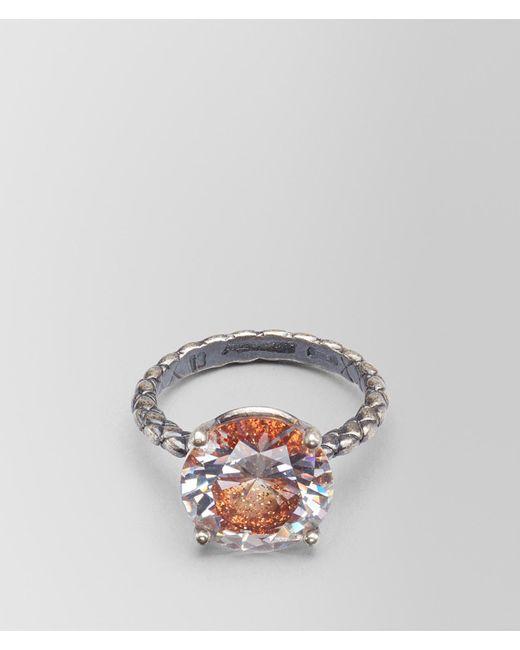 Bottega Veneta - Brown Ring In Zirconia And Enamel - Lyst