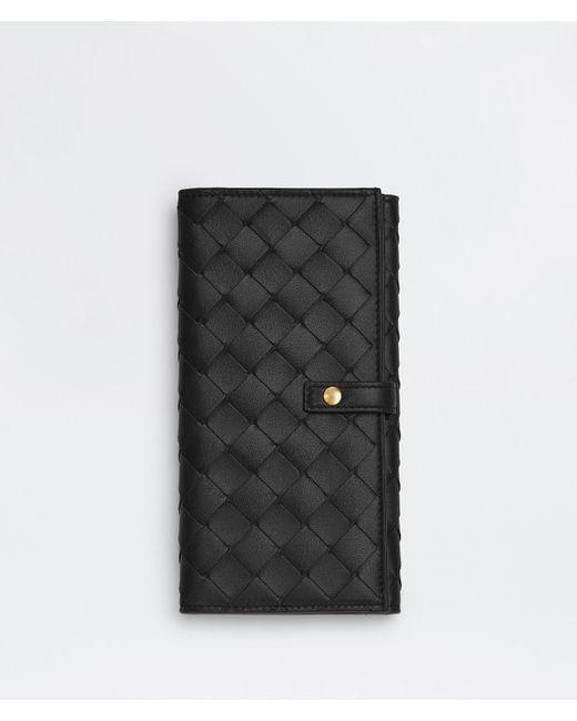 Bottega Veneta ラージ 二つ折りフラップウォレット Black