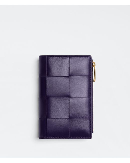 Bottega Veneta Bi-fold Zip Wallet Purple