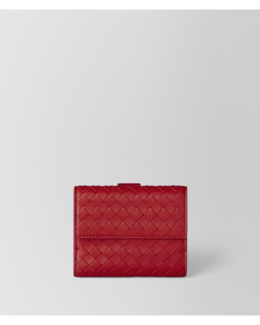 Bottega Veneta - China Red Intrecciato Nappa Mini Wallet - Lyst