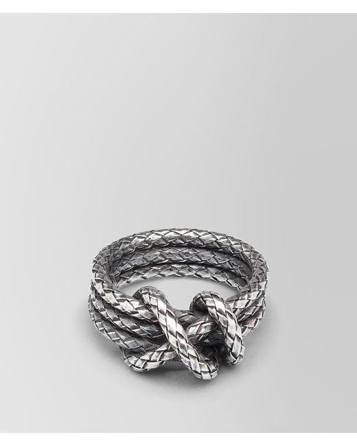 Bottega Veneta - Metallic Ring In Intrecciato Silver - Lyst