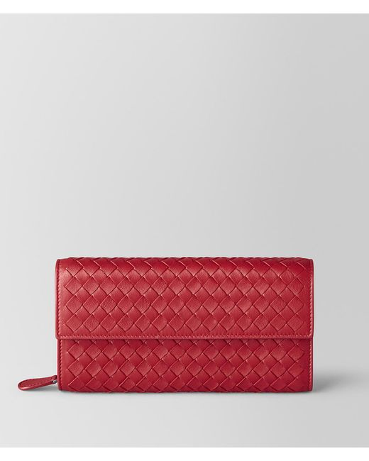 Bottega Veneta - China Red Intrecciato Nappa Continental Wallet - Lyst