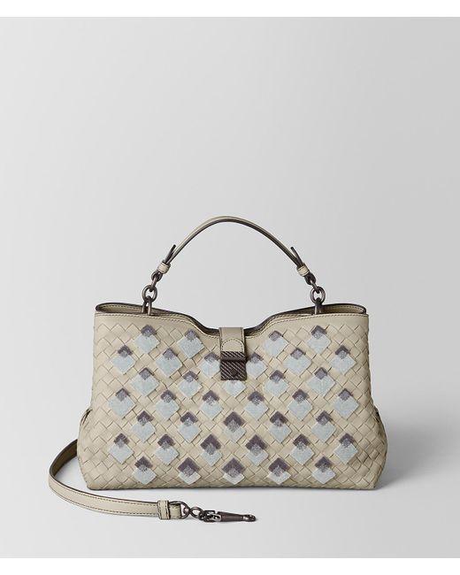 976667400409 Bottega Veneta Cement Intrecciato Velvet Napoli Bag - Lyst