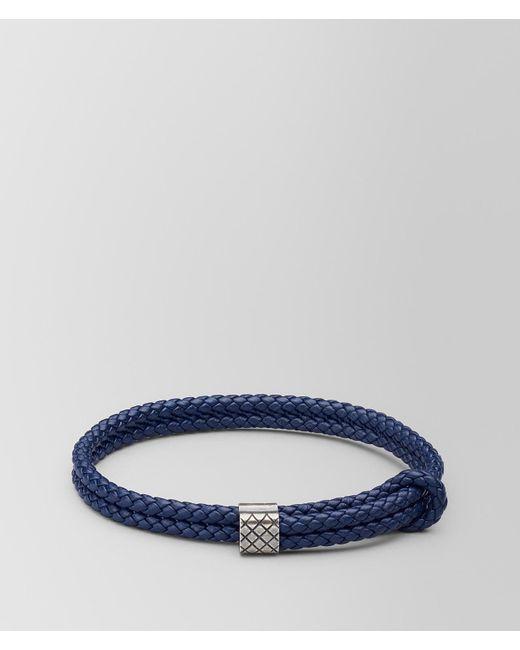 Bottega Veneta - Blue Atlantic Leather/oxidized Silver Bracelet for Men - Lyst