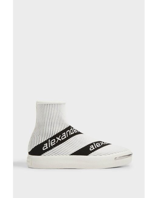 Alexander Wang White 20mm Pia Logo Knit Sock Sneakers