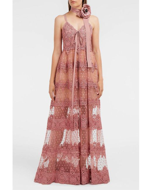 Elie Saab | Pink Guipure Lace Gown | Lyst