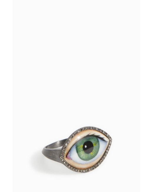 Lito - Green Enamel Eye Ring - Lyst