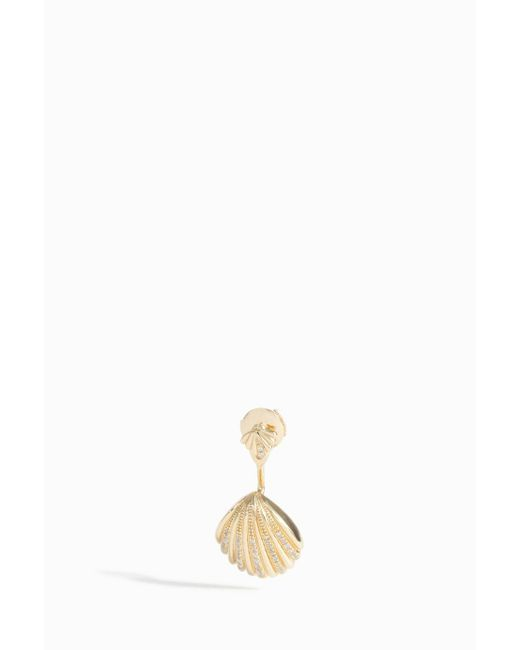 Yvonne Léon | Metallic Grey Diamond Shell Earring | Lyst