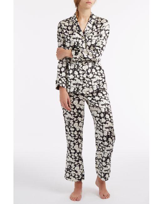Olivia Von Halle | Black Sabine Print Short Alba Silk Pyjamas | Lyst