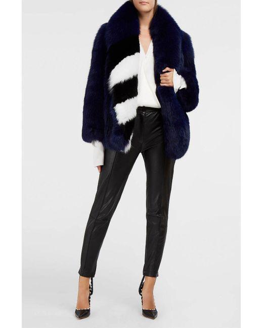 offwhite co virgil abloh blue rap fox fur coat lyst