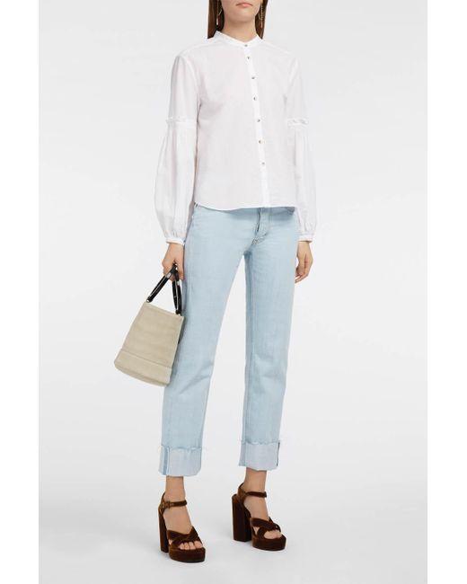 MiH Jeans - White Aran Floral-print Silk Crepe De Chine Shirt - Lyst